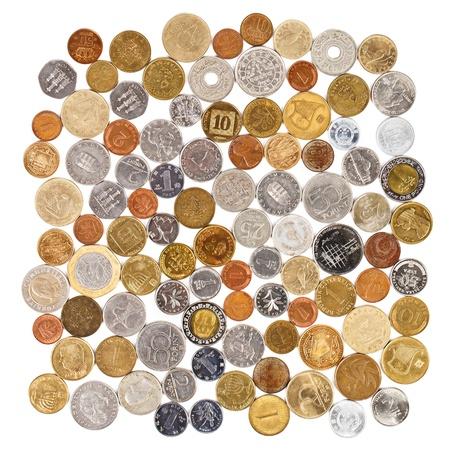 monete antiche: Collezione di monete diverse molti su sfondo bianco