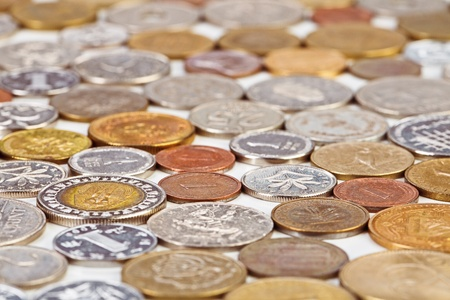 monetary concept: Many different coins collection, monetary concept background Stock Photo
