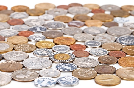 infinitely: Many different coins collection, monetary concept background Stock Photo