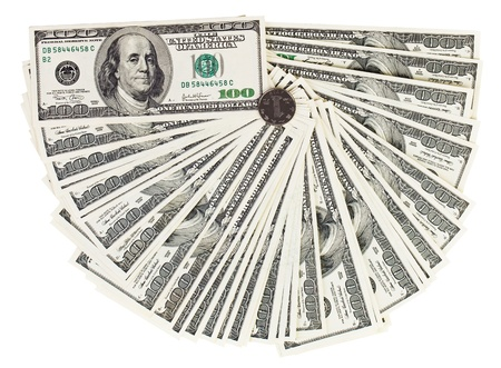 slump: 100 USA dollars bank notes fanned out on white with one chinese yuan coin Stock Photo