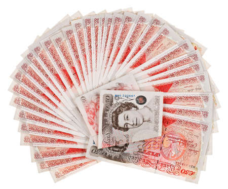 gbp: Many 50 pound sterling bank notes fanned out, isolated on white Stock Photo