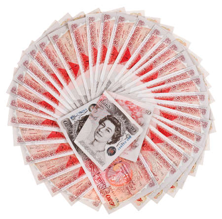Many 50 pound sterling bank notes fanned out, isolated on white photo