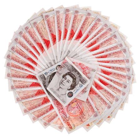 libra esterlina: Muchos 50 libras esterlinas billetes de Banco avivado, aislado en blanco