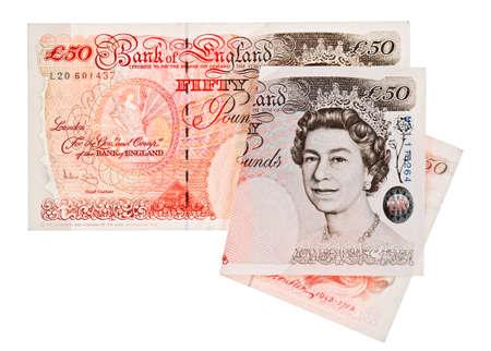 sterlina: Banconota � 50 sterline, isolato su bianco