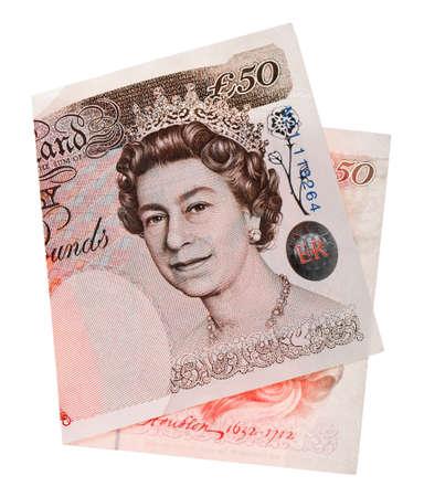 libra esterlina: 50 libras esterlinas de billetes, aislado en blanco
