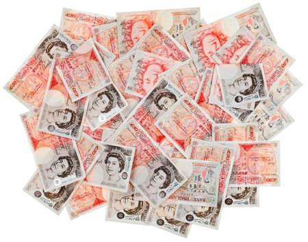 スターリング: 多くの 50 ポンド スターリング銀行ノート ビジネスの背景、白で隔離されます。 写真素材