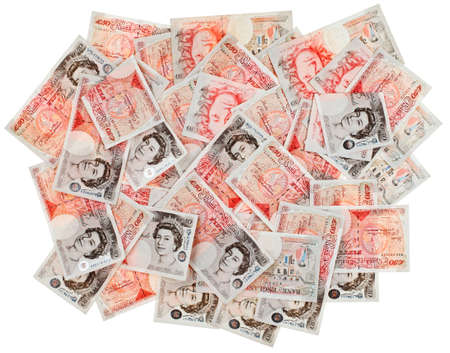 sterlina: Molti £ 50 sterline banconote sfondo affari, isolato su bianco Archivio Fotografico