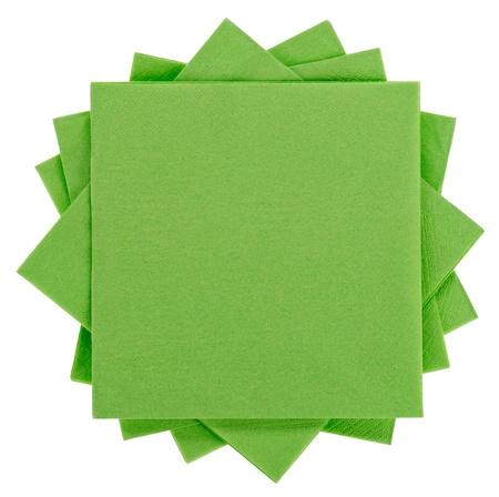 serviette: Groen vierkantje papier servet (weefsel), geïsoleerd op wit