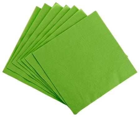 servilleta de papel: Cuadrado verde servilleta de papel (tejido), aislado en blanco Foto de archivo