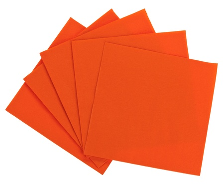 serviette: Orange square paper serviette (tissue), isolated on white Stock Photo