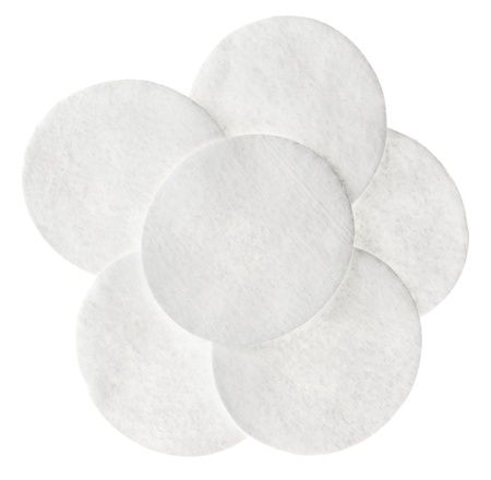 cotton wool: Cotton round cosmetic pads, isolated on white