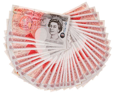 процветание: Многие 50 фунтов стерлингов отмечает банк веером, изолированных на белом