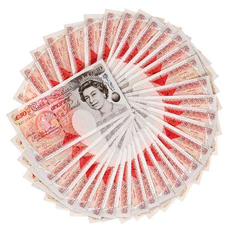 スターリング: 多くの 50 ポンド スターリング銀行ノートに広げた、白で隔離されます。 写真素材