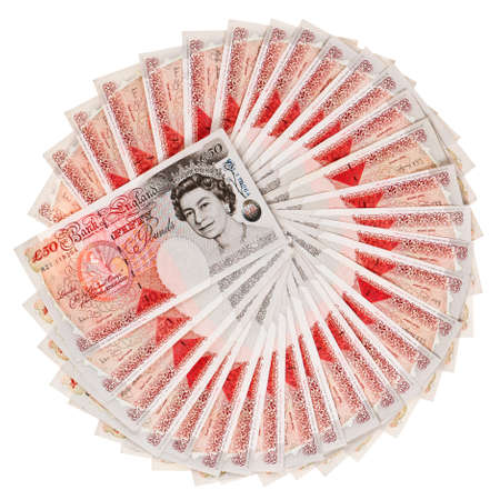 Many 50 pound sterling bank notes fanned out, isolated on white Stock Photo