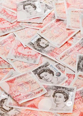 Briten: 50 � Sterling Banknoten Nahansicht betriebswirtschaftlichen Hintergrund