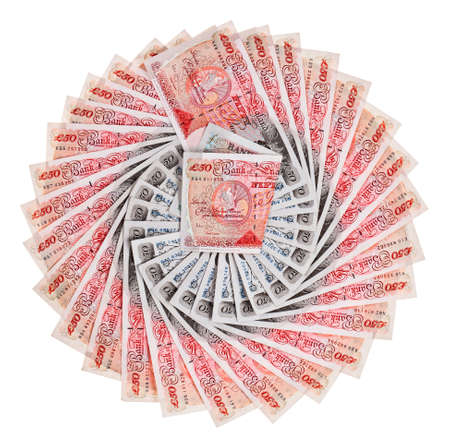pound sterling: Many 50 pound sterling bank notes fanned out, isolated on white Stock Photo