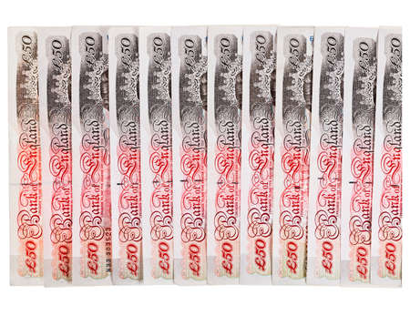 Many 50 pound sterling bank notes business background, isolated  on white photo