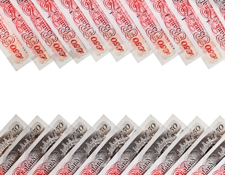 Many 50 pound sterling bank notes business background, isolated  on white Stock Photo