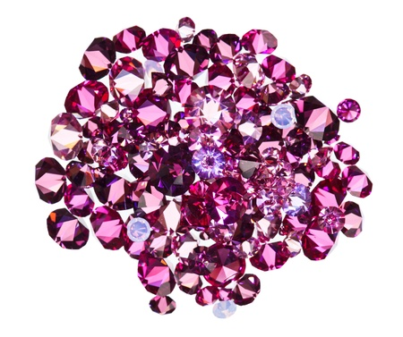 ruby stone: Many small ruby diamond (jewel) stones heap isolated on white