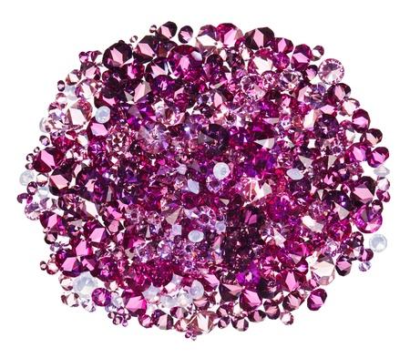 diamond stones: Many small ruby diamond (jewel) stones heap isolated on white