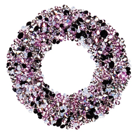Round frame made from many small purple diamonds, isolated on white photo