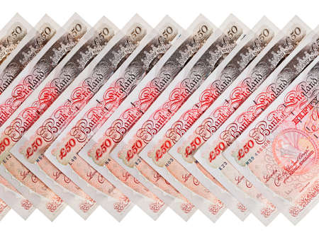 dosh: Many 50 pound sterling bank notes business background, isolated  on white Stock Photo