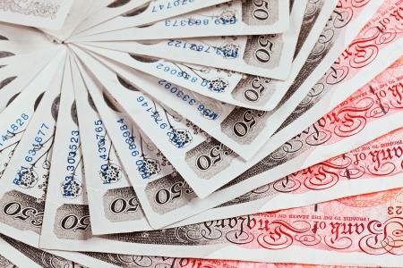 スターリング: 50 ポンド ポンド紙幣のクローズ アップ ビュー ビジネスの背景
