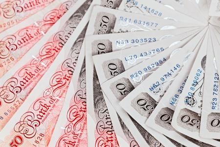 sterlina: £ 50 sterline banconote sfondo closeup vista lavorativo