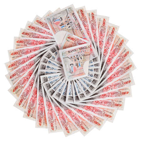 pound sterling: 50 pound sterling bank notes fanned out, isolated on white