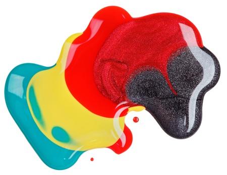 glitter makeup: Esmalte de u�as (esmalte) mezclado muestras multicolor, aislados en blanco