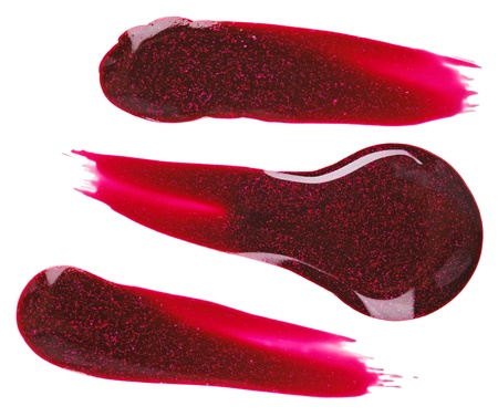 Red nail polish (enamel) drops sample, isolated on white Stock Photo - 11511995