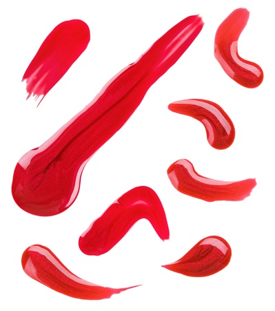 spilled paint: Red nail polish (enamel) drops sample, isolated on white