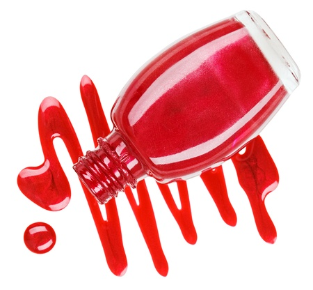 Bottle of red nail polish with enamel drop samples, isolated on white Stock Photo - 11511979