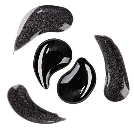 Black and silver nail polish (enamel) drops sample, isolated on white Stock Photo - 11512086