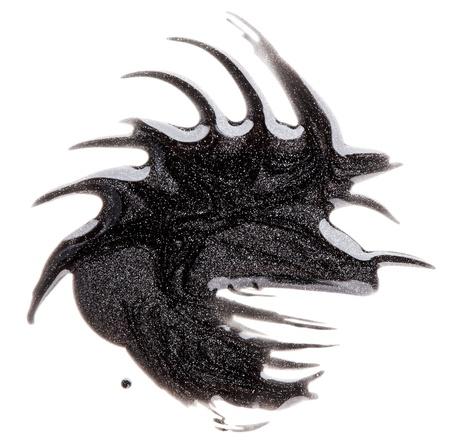 spilled paint: Dark silver nail polish (enamel) blotch sample, isolated on white