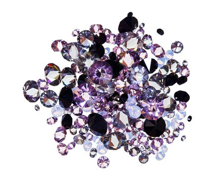 gem stones: Many small purple diamond (jewel) stones heap isolated on white