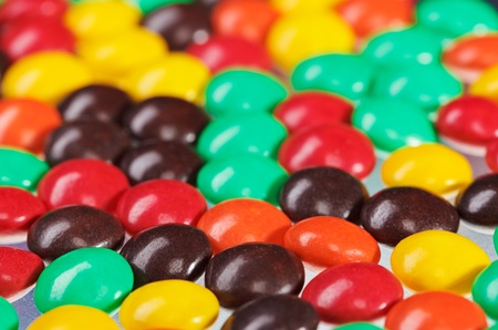 Multicolor bonbon sweets (ball candies) food background, closeup view photo