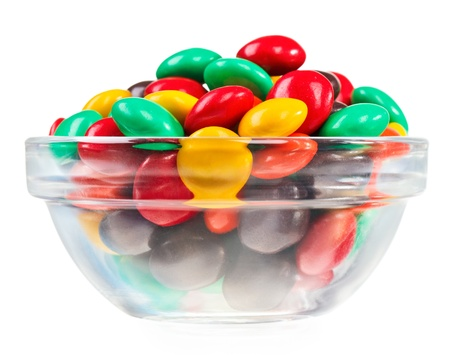 Multicolor bonbon sweets  ball candies  in glass bowl, isolated on white Stock Photo - 12838408