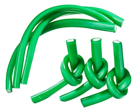 licorice: Green gummy candy  licorice  rope set, isolated on white closeup view