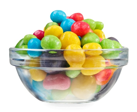 Multicolor bonbon sweets  ball candies  in glass bowl, isolated on white Stock Photo - 12838400