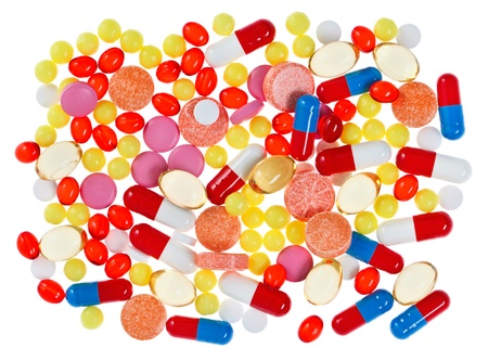 Pills, tablets and drugs, medical background isolated Stock Photo - 12838802