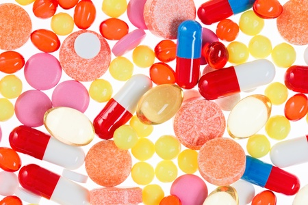 Pills, tablets and drugs, medical background Stock Photo - 13424108