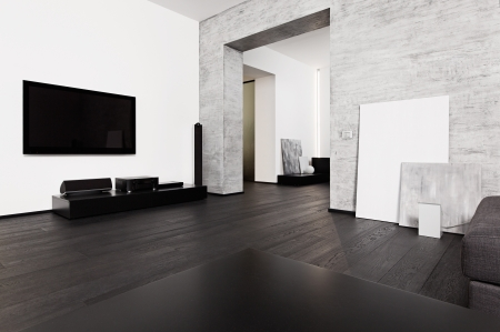 Modern minimalism style drawing-room interior in black and white tones photo