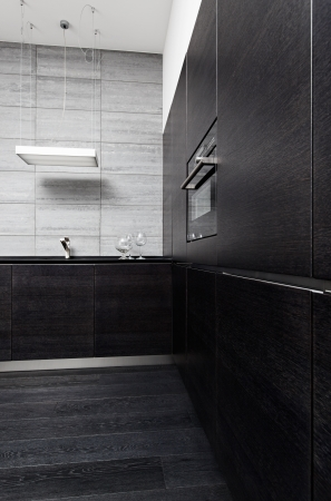 Part of black hardwood kitchen in modern style with build-in utensils photo