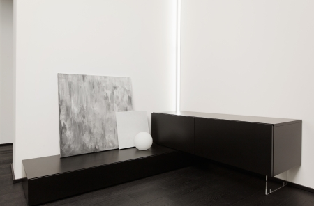 small details: Fragment of modern minimalism style hall interior in black and white tones Stock Photo