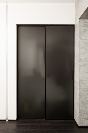 closet door: Sliding-door wardrobe in modern hall interior