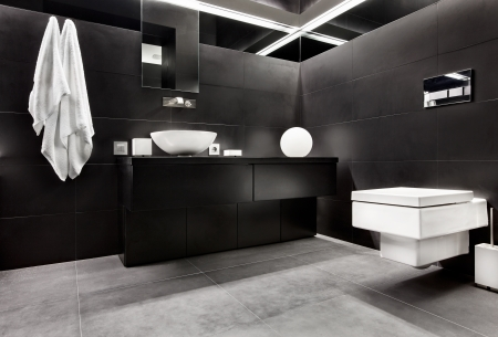 Modern minimalism style bathroom interior in black and white tones photo