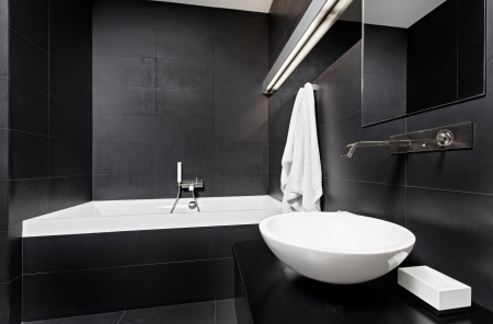 modern minimalism style bathroom interior in black and white stock