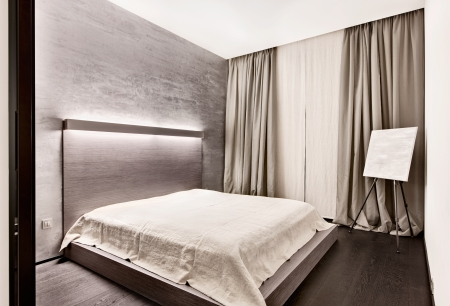 Modern minimalism style bedroom interior in monochrome tones Stock Photo - 14883183