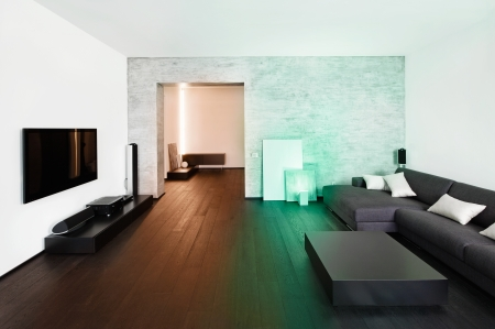 lcd tv: Modern minimalism style drawing-room  interior Stock Photo